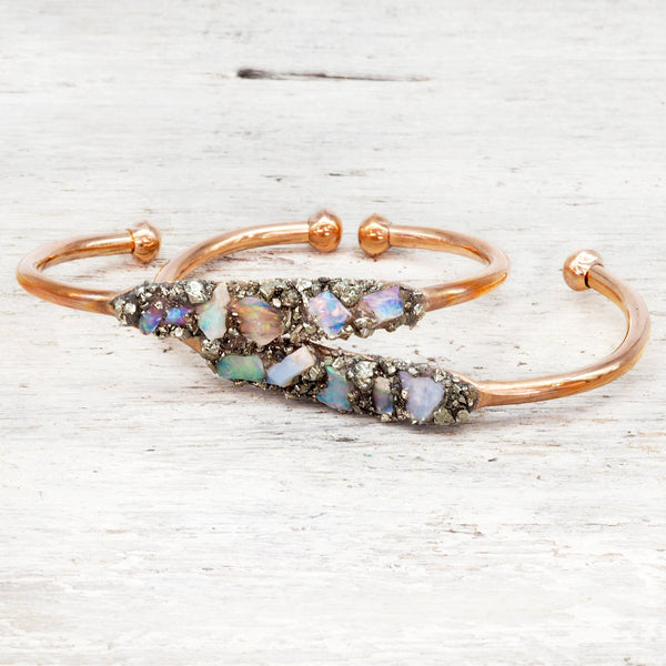 Rose Gold Raw Australian Opal and Pyrite Cuff. Bohemian Jewellery. Indie and Harper