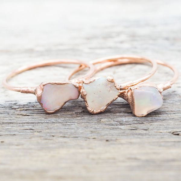 Rose Gold Raw Opal Ring | Bohemian Jewellery | Indie and Harper