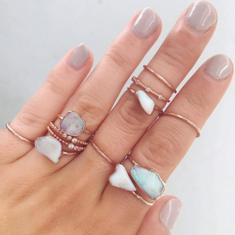 Rose Gold Raw Opal Ring - Indie and Harper. Bohemian Gypsy Festival Jewellery. www.indieandharper.com