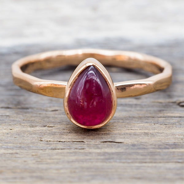 Rose Gold Ruby Ring. Bohemian Jewellery. Indie and Harper