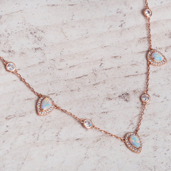 Rose Gold Stardust Opal Necklace. Bohemian Jewellery. Indie and Harper