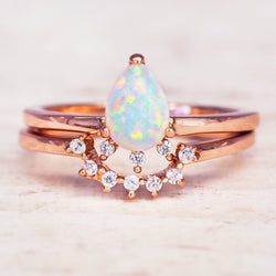Rose Gold Stardust Opal Ring Set. Bohemian Jewellery. Indie and Harper