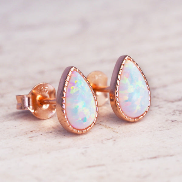 Rose Gold White Opal Rain Drop Earrings. Bohemian Jewellery. Indie and Harper