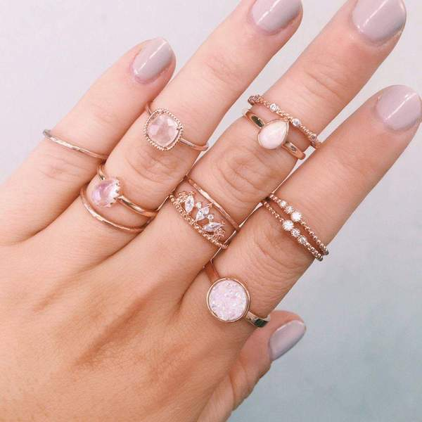 Rose Gold with Druzy Quartz Ring. Bohemian Jewellery. Indie and Harper