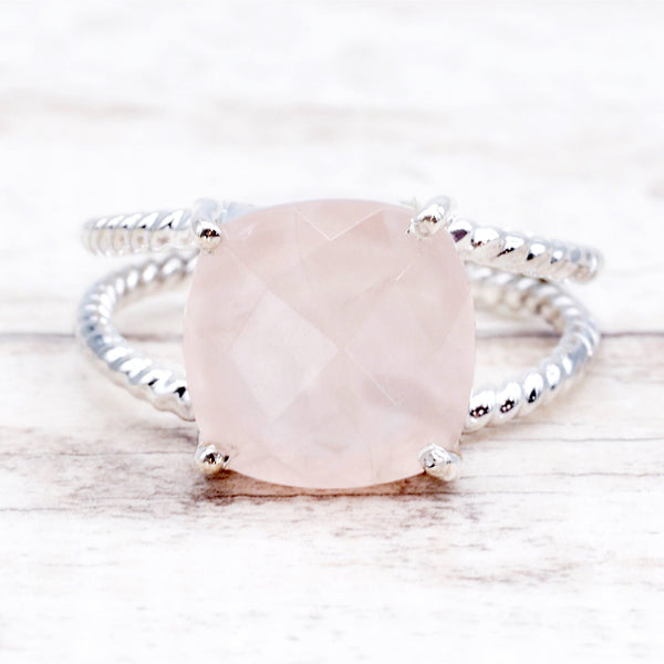 Rose Quartz Double Twist Ring. Bohemian Jewellery. Indie and Harper