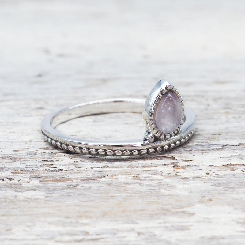 Rose Quartz Petal Ring. Bohemian Jewellery. Indie and Harper