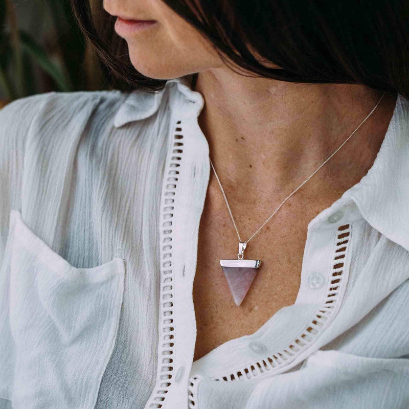 Rose Quartz Silver Dipped Necklace - Indie and Harper. Bohemian Gypsy Festival Jewellery. www.indieandharper.com