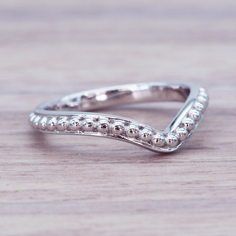 Silver Beaded Chevron Ring - Women's Jewellery - Indie and Harper