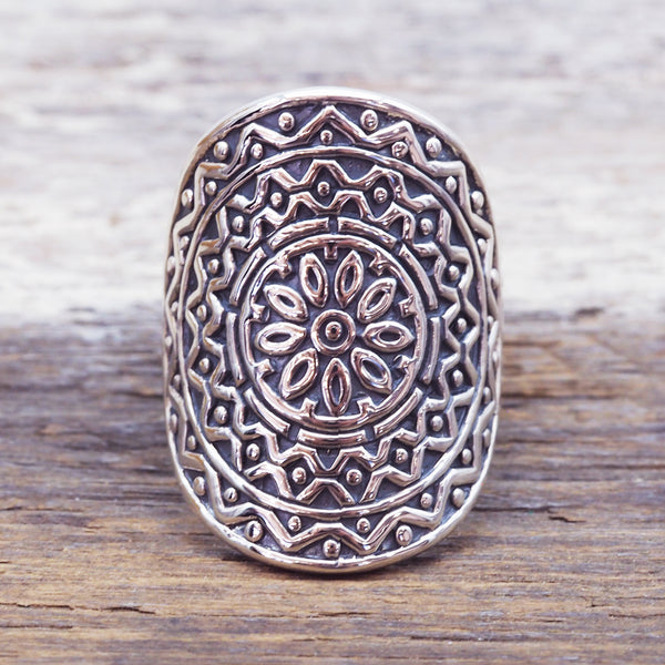 Silver Blossom Mandala Ring - Women's Jewellery - Indie and Harper