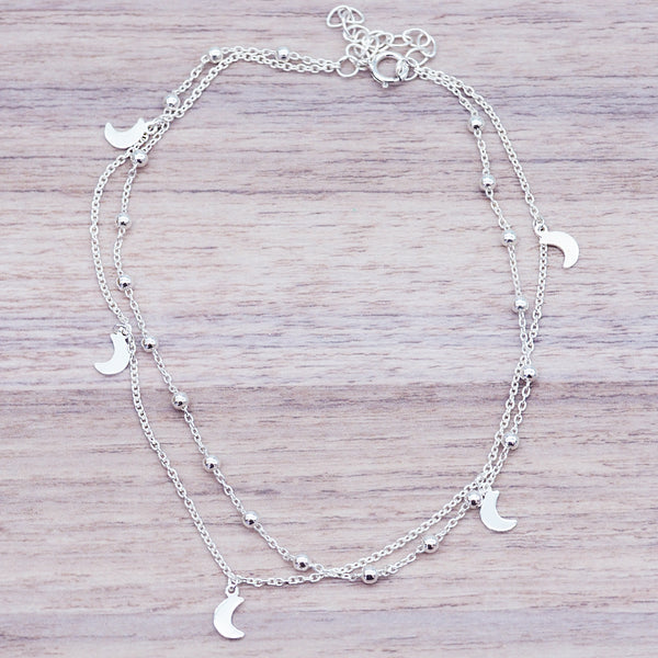 Silver Crescent Moon Anklet - Women's Jewellery - Indie and Harper