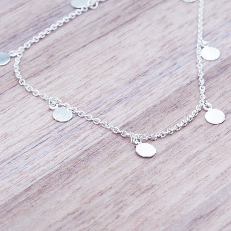 Silver Dainty Disc Anklet - Women's Jewellery - Indie and Harper