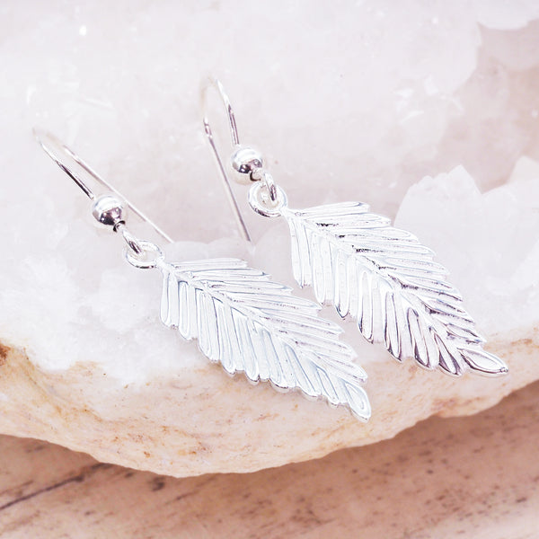 Silver Feather Earrings - Women's Jewellery - Indie and Harper