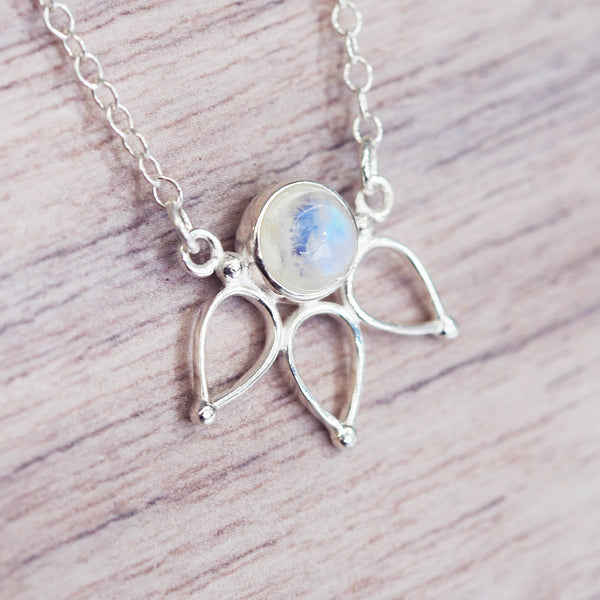 Silver Moonstone Lotus Necklace - Women's Jewellery - Indie and Harper