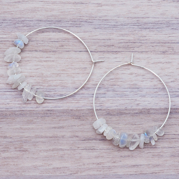 Silver Multi Moonstone Earrings - Women's Jewellery - Indie and Harper