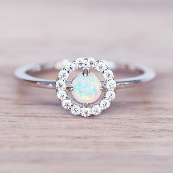 Silver Opal Halo Ring - Women's Jewellery - Indie and Harper