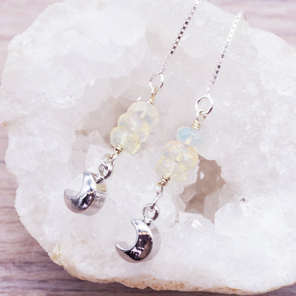 Silver Opal and Moon Thread Earrings - Women's Jewellery - Indie and Harper