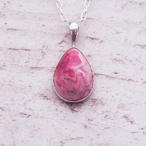 Silver Rhodochrosite Rain Drop Necklace - Women's Jewellery - Indie and Harper