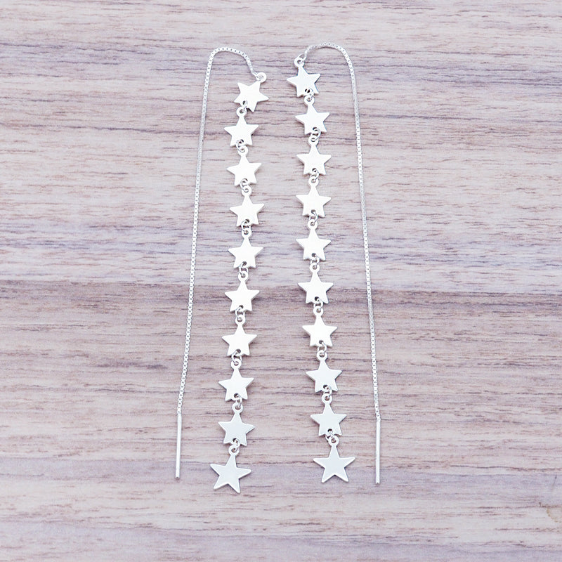 Silver Star Thread Earrings - Women's Jewellery - Indie and Harper