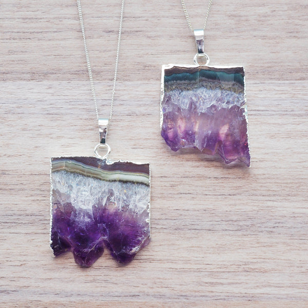 Silver Amethyst Crystal Slice Necklace. Bohemian Jewellery. Indie and Harper