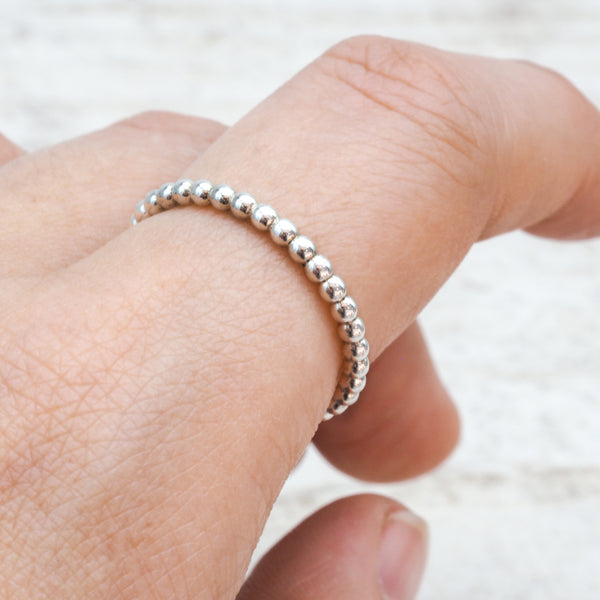 Silver Beaded Band Ring