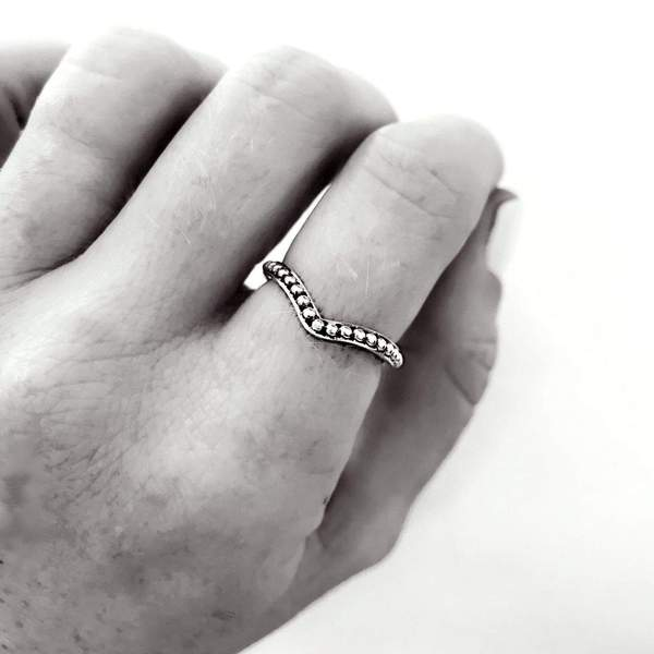 Silver Beaded Chevron Ring. Bohemian Jewellery. Indie and Harper