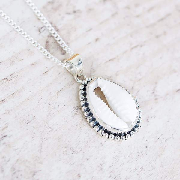 Silver Cowrie Shell Pendant. Bohemian Jewellery. Indie and Harper