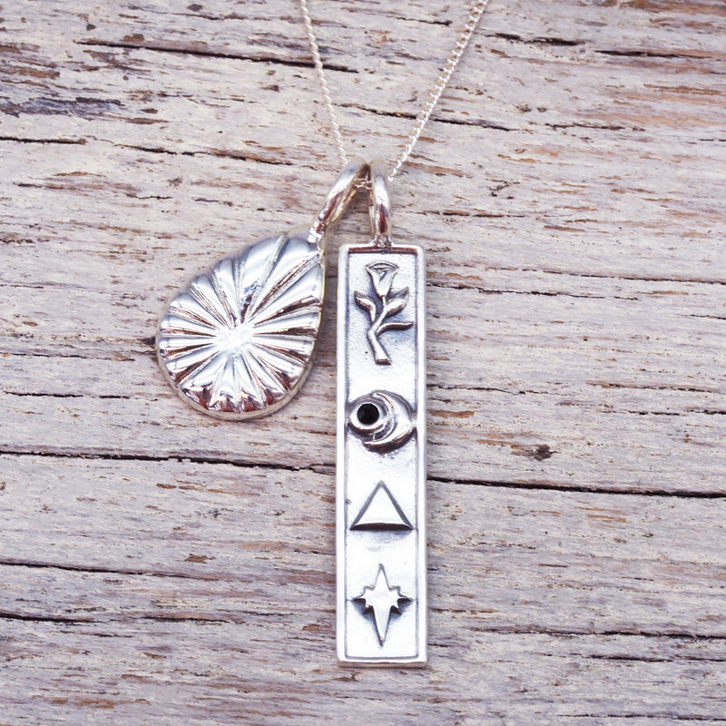 Silver Cryptic Necklace. Bohemian Jewellery. Indie and Harper