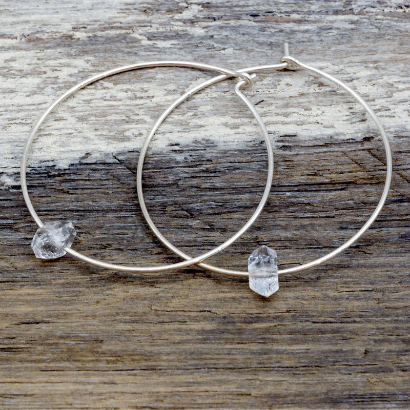 Silver Dainty Herkimer Hoop Earrings. Bohemian Jewellery. Indie and Harper