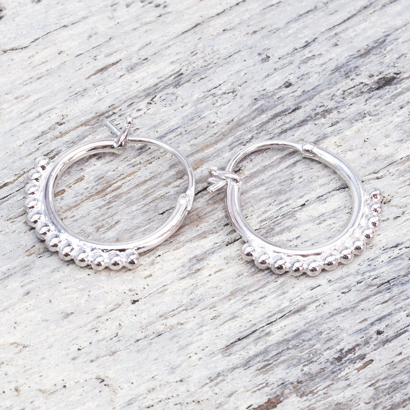 Silver Half Beaded Earrings. Bohemian Jewellery. Indie and Harper