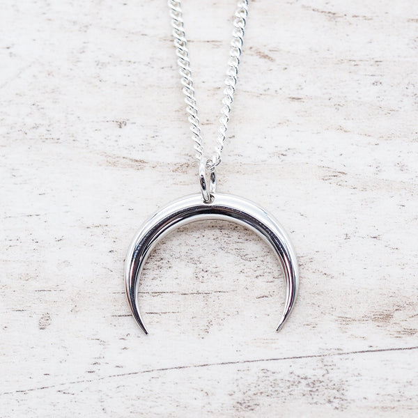 Silver Half Moon Necklace. Bohemian Jewellery. Indie and Harper
