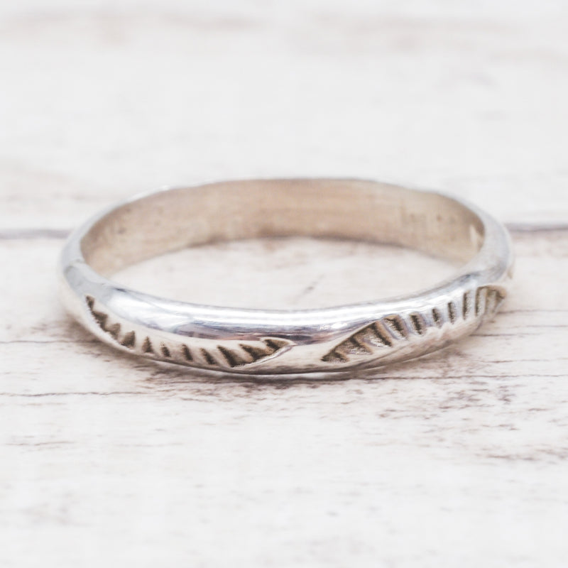 Silver Hand Carved Navajo Ring. Bohemian Jewellery. Indie and Harper