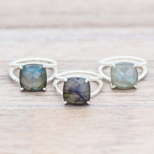 Silver Labradorite Double Twist Ring. Bohemian Jewellery. Indie and Harper