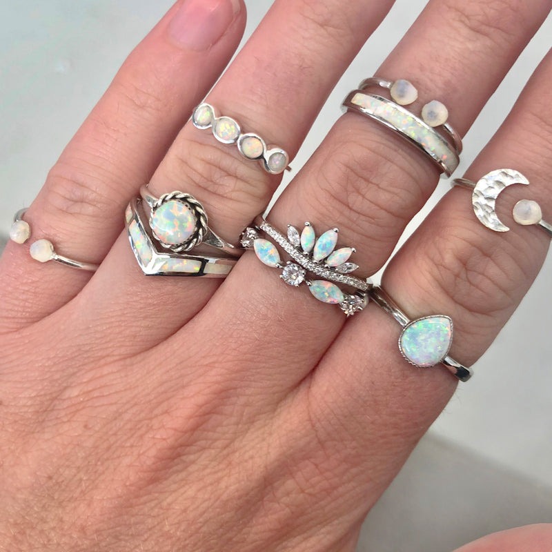 Silver Little Raw Opal and Moon Ring. Bohemian Jewellery. Indie and Harper