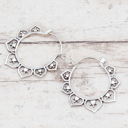 Silver Lotus Hoops. Bohemian Jewellery. Indie and Harper