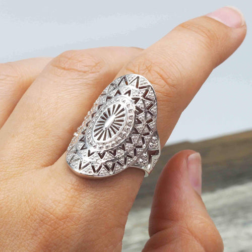 Silver Mandala Ring. Bohemian Gypsy Festival Jewellery. Indie and Harper