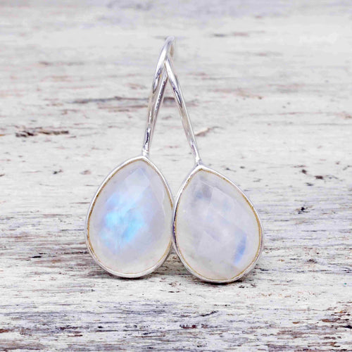 Silver Moonstone Drop Earrings. Bohemian Gypsy Festival Jewellery. Indie and Harper