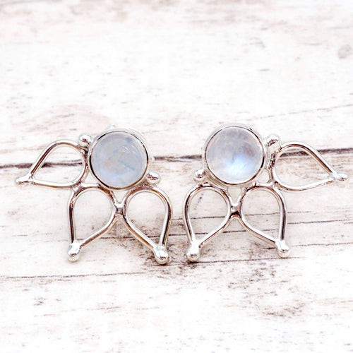 Silver Moonstone Lotus Earrings - Indie and Harper. Bohemian Gypsy Festival Jewellery. www.indieandharper.com