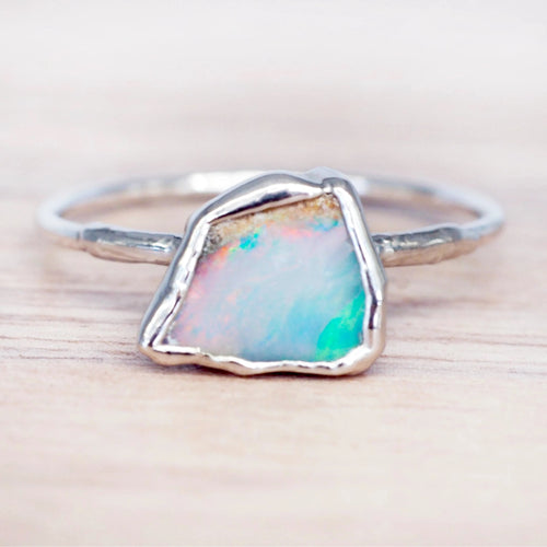 Silver Raw Opal Ring - Indie and Harper. Bohemian Gypsy Festival Jewellery. www.indieandharper.com