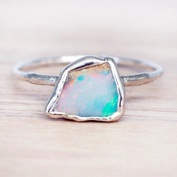 Silver Raw Opal Ring. Bohemian Jewellery. Indie and Harper