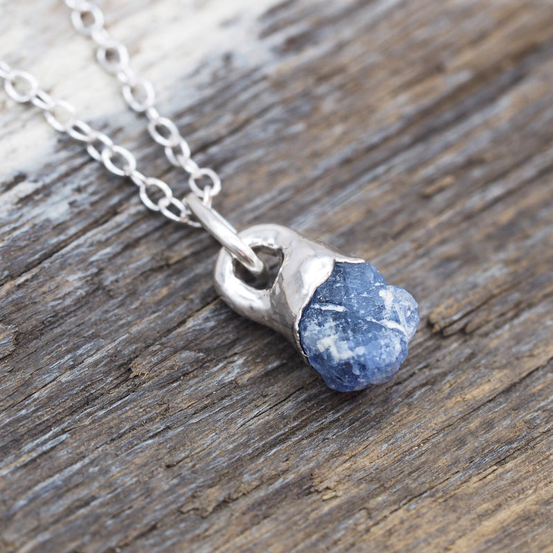 Silver Raw Sapphire Necklace. Bohemian Jewellery. Indie and Harper