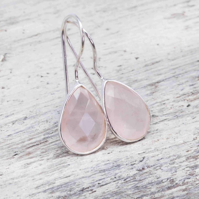 Silver Rose Quartz Drop Earrings. Bohemian Gypsy Festival Jewellery. Indie and Harper