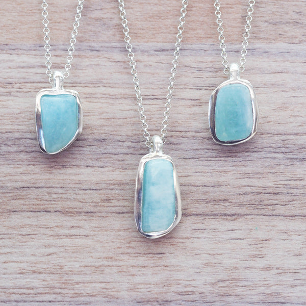 Silver and Aquamarine Necklace - Women's Jewellery - Indie and Harper