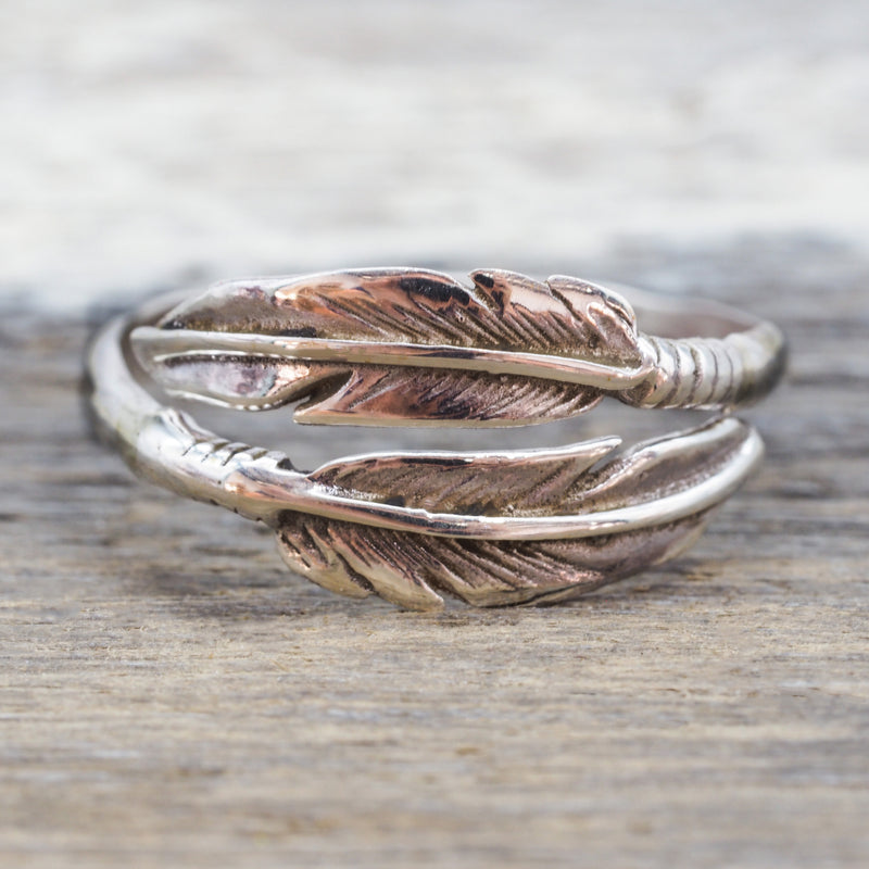 Silver Navajo Carved Feather Ring. Bohemian Jewellery. Indie and Harper