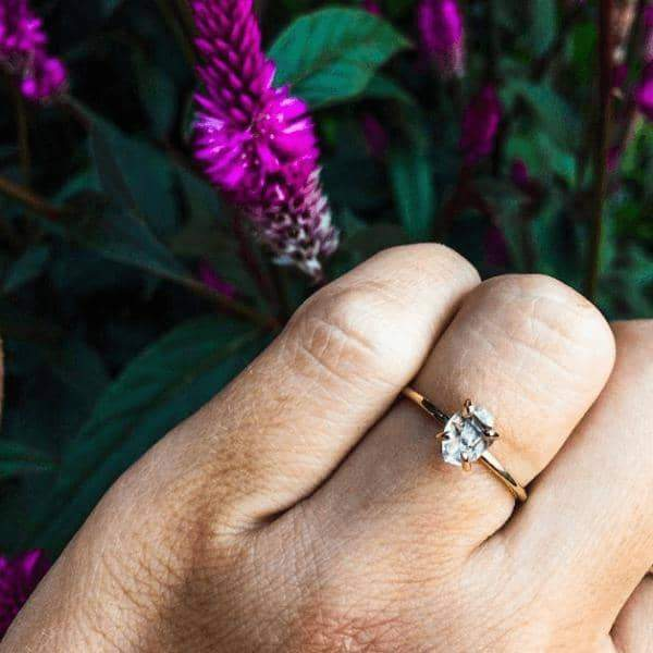 Solid 9k Gold Herkimer Quartz Diamond Ring. Bohemian Jewellery. Indie and Harper