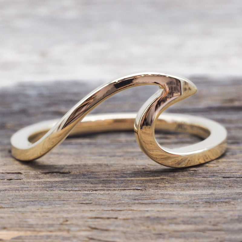 Solid 9k Gold Wave Ring. Bohemian Jewellery. Indie and Harper
