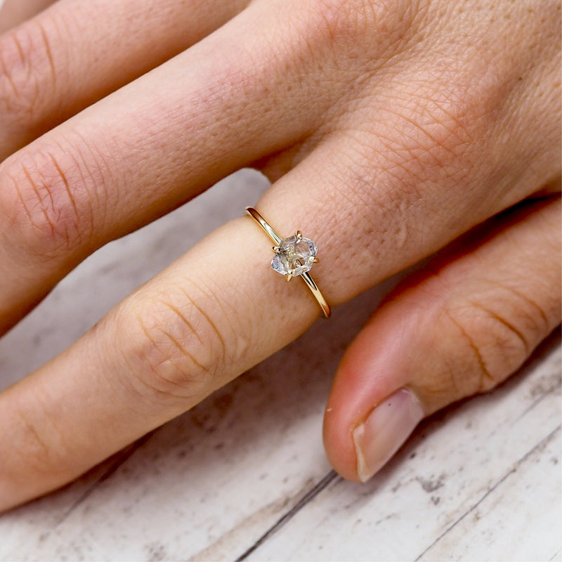 Solid 9k Rose Gold Herkimer Quartz Diamond Ring. Bohemian Jewellery. Indie and Harper