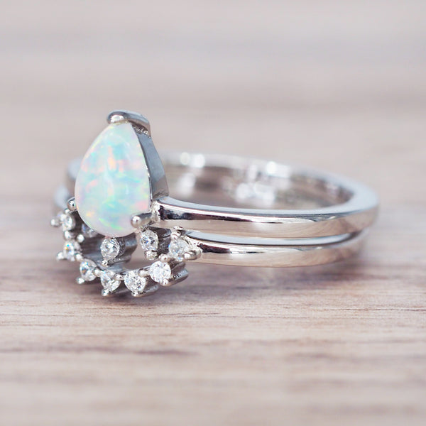 Stardust Opal Ring Set. Bohemian Gypsy Festival Jewellery. Indie and Harper