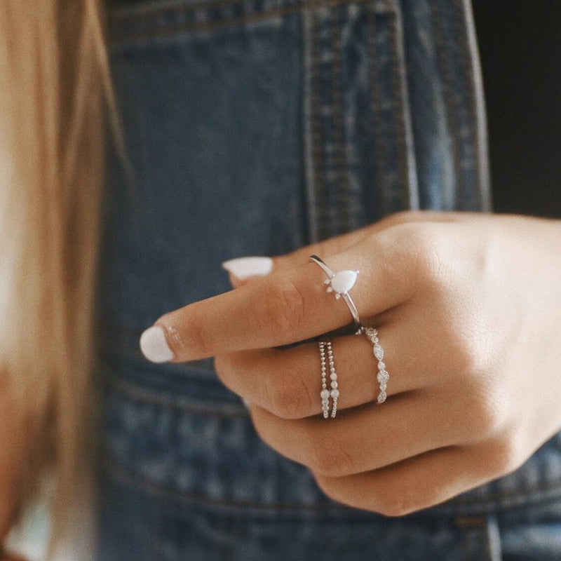 Stardust Opal Ring Set. Bohemian Jewellery. Indie and Harper