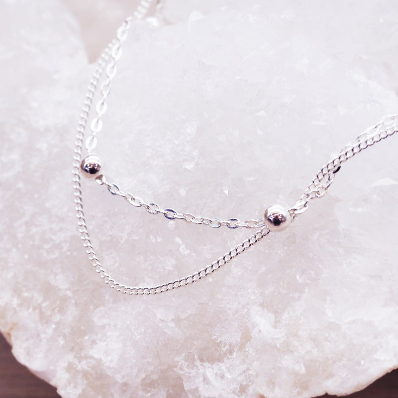 Sterling Silver Beaded Anklet - Women's Jewellery - Indie and Harper