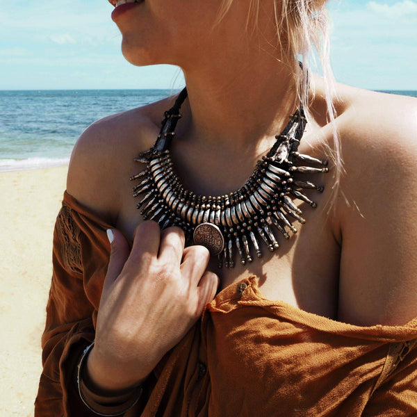 Nepalese Vintage Tharu Necklace - Indie and Harper. Bohemian Gypsy Festival Jewellery. www.indieandharper.com